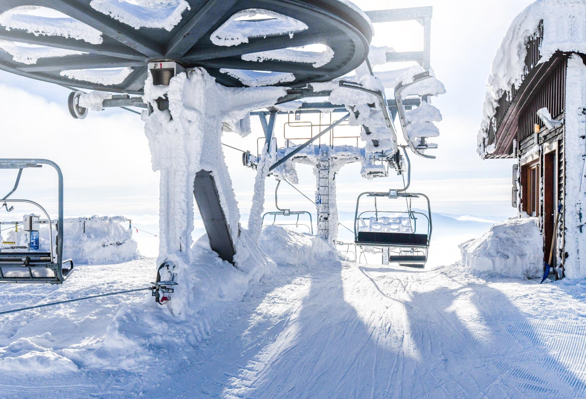 Ski lift at the top of Okanagan Valley ski resort